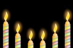 Tarjeta de felicitación del cumpleaños con la vela Fotos de archivo libres de regalías