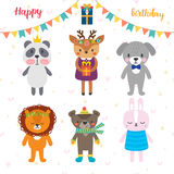 Tarjeta de felicitación del cumpleaños con los animales divertidos de la historieta Backgrou lindo Fotografía de archivo