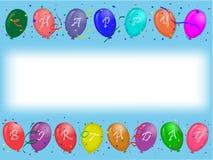 Tarjeta de felicitación del cumpleaños con los globos del partido Imagenes de archivo