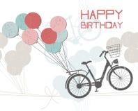 Tarjeta de felicitación del cumpleaños con los globos y la bicicleta Fotos de archivo