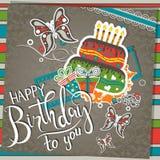 Tarjeta de felicitación del cumpleaños de la plantilla con la torta y el texto, vector Fotos de archivo libres de regalías
