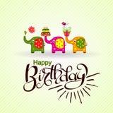Tarjeta de felicitación del cumpleaños de la plantilla con los elefantes y el texto, vector Imágenes de archivo libres de regalías