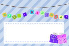 Tarjeta de felicitación del cumpleaños del bebé de la plantilla Imagenes de archivo