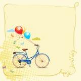 Tarjeta de felicitación del cumpleaños en estilo de la historieta con la bicicleta y los globos Ilustración del vector Imagen de archivo