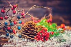 Tarjeta de felicitación del Día de Acción de Gracias con la fruta del otoño, manzana, nuez Imágenes de archivo libres de regalías