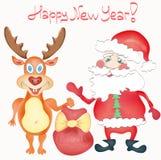 Tarjeta de felicitación del día de fiesta de la Feliz Año Nuevo con los ciervos y fotos de archivo libres de regalías