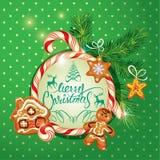 Tarjeta de felicitación del día de fiesta del Año Nuevo con el pan de jengibre de Navidad Fotos de archivo libres de regalías