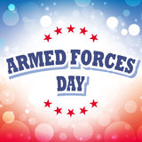 Tarjeta de felicitación del día de fuerzas armadas de arma Imagenes de archivo