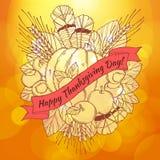 Tarjeta de felicitación del día de la acción de gracias con handdrawn Imagen de archivo