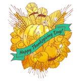 Tarjeta de felicitación del día de la acción de gracias con handdrawn Imágenes de archivo libres de regalías