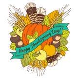 Tarjeta de felicitación del día de la acción de gracias con los puntos Imagen de archivo