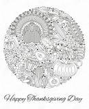 Tarjeta de felicitación del día de la acción de gracias Diversos elementos para el diseño ilustración del vector
