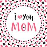 Tarjeta de felicitación del día de la madre Cartel imprimible del vector Letras de la mano Imágenes de archivo libres de regalías