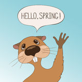 Tarjeta de felicitación del día de la marmota Foto de archivo libre de regalías