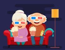 Tarjeta de felicitación del día de los abuelos Watc de la abuela y del abuelo stock de ilustración