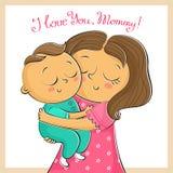 Tarjeta de felicitación del día de madre con la madre y el niño, aislados en wh stock de ilustración