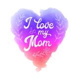 Tarjeta de felicitación del día de madres con el corazón de la acuarela Imagenes de archivo