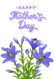 Tarjeta de felicitación del día de madres con los lirios azules Foto de archivo libre de regalías