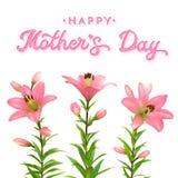 Tarjeta de felicitación del día de madres con los lirios rosados Fotografía de archivo