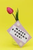 Tarjeta de felicitación del día de padres con la foto feliz de las existencias del texto del día de padre Imagenes de archivo
