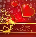 Tarjeta de felicitación del día de San Valentín con floral de oro Fotografía de archivo