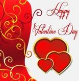 Tarjeta de felicitación del día de San Valentín con floral de oro Fotos de archivo libres de regalías