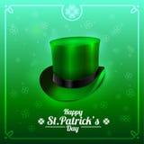 Tarjeta de felicitación del día de St Patrick con el sombrero del duende en un fondo verde Ilustración del vector Fotografía de archivo
