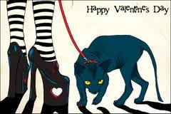 Tarjeta de felicitación del día de tarjeta del día de San Valentín Imagenes de archivo