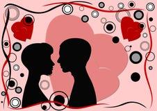 Tarjeta de felicitación del día de tarjeta del día de San Valentín stock de ilustración