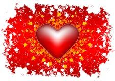 Tarjeta de felicitación del día de tarjeta del día de San Valentín con el corazón de las flores en backg del grunge Imagenes de archivo