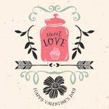 Tarjeta de felicitación del día de tarjeta del día de San Valentín con las letras libre illustration