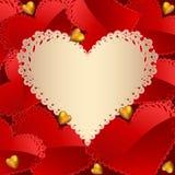 Tarjeta de felicitación del día de tarjeta del día de San Valentín con los corazones Imagen de archivo