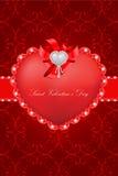 Tarjeta de felicitación del día de tarjeta del día de San Valentín del santo Fotos de archivo libres de regalías