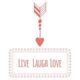 Tarjeta de felicitación del día de tarjeta del día de San Valentín del santo Vive la risa ilustración del vector