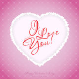 Tarjeta de felicitación del día de tarjetas del día de San Valentín Imagen de archivo libre de regalías