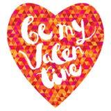 Tarjeta de felicitación del día de tarjetas del día de San Valentín con las letras dibujadas mano Fotografía de archivo libre de regalías
