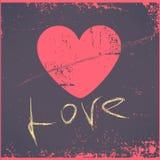 Tarjeta de felicitación del día de tarjetas del día de San Valentín del corazón del amor retra ilustración del vector