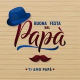 Tarjeta de felicitación del día del padre s Sombrero y bigote Estilo retro Ilustración del vector libre illustration