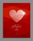 Tarjeta de felicitación del día del ` s de la tarjeta del día de San Valentín, cartel Fotografía de archivo