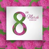 Tarjeta de felicitación del día del ` s de las mujeres con las flores rosadas en fondo verde Fotografía de archivo libre de regalías