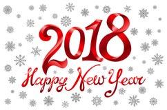 Tarjeta de felicitación del día de fiesta de la Feliz Año Nuevo 2018 en el fondo blanco con el modelo de los copos de nieve Las v Imagenes de archivo