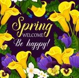 Tarjeta de felicitación del día de fiesta de la primavera con el marco de la flor Fotografía de archivo libre de regalías