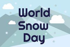 Tarjeta de felicitación del día de la nieve del mundo Letras en fondo azul con las montañas y las escamas en estilo plano Fotos de archivo libres de regalías