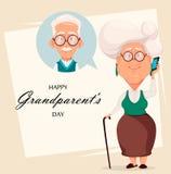 Tarjeta de felicitación del día de los abuelos Abuela que llama al abuelo stock de ilustración