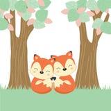 Tarjeta de felicitación del día de madre con poco zorro y madre en el registro de madera ilustración del vector