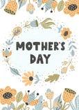 Tarjeta de felicitación del día de Mother's con las flores de moda ilustración del vector