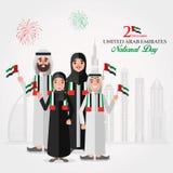Tarjeta de felicitación del día nacional de los UAE con la familia de Emirati de la historieta stock de ilustración