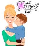 Tarjeta de felicitación del día del ` s de la madre Niño que abraza y que besa a su mamá hermosa ilustración del vector