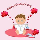 Tarjeta de felicitación del día del ` s de la tarjeta del día de San Valentín con el muchacho que agujerea los frascos con las po stock de ilustración