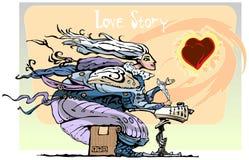 Tarjeta de felicitación del día del ` s de la tarjeta del día de San Valentín del ejemplo romántica fotos de archivo libres de regalías